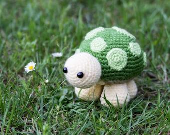 Handmade Amigurumi Crochet Cute Turtle - Nursery Stuffed Doll - Animal