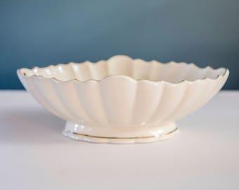 Vintage Teleflora Ivory Serving Bowl Dish with Gold Trim