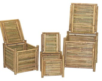 Set of 3 Bamboo Square Boxes with Lids - Storage Box Containers
