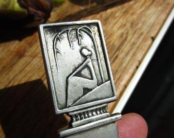 CG HALLBERG Letter opener / paper knife, pewter, art deco Swedish pewter