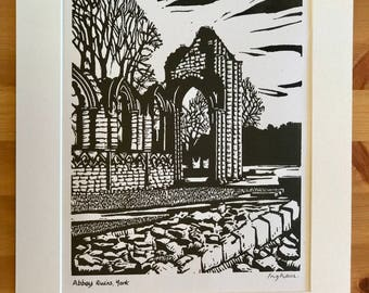 Signed Linocut Print of Abbey Ruins in York by Maurice Ingham