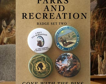 Parks and Recreation TV Show Badges, Buttons, Pins, Pinback Buttons (Pawnee Goddesses, Lil' Sebastian, Leslie Knope, Ron Swanson)