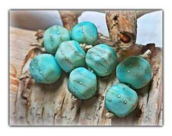Ocean Blue Nuggets**Handmade Lampwork Beads**Glass**Organic**Earring Pairs**