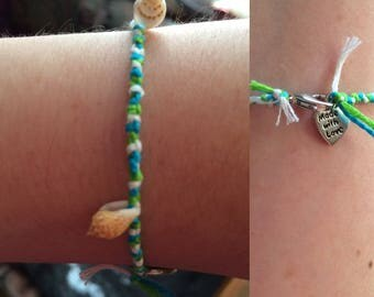 Blue, Green, and White Friendship Bracelet