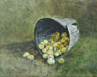 Paul Scarborough Oil Painting: My Mothers Poor Old Apples