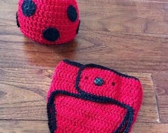 Lady Bug diaper cover set, Photo props, Crochet diaper cover, crochet hat