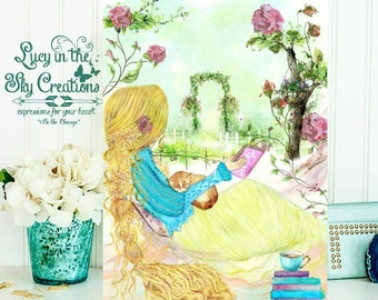 Watercolor girl reading - Tangled - Rapunzel