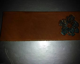 Blue flower bookmark in leather