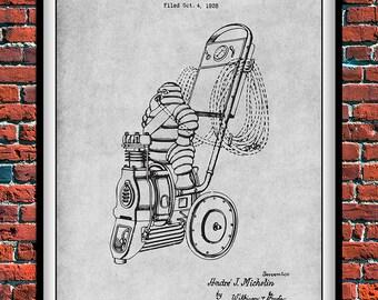 1929 Michelin Mann Luft Kompressor Patent Print Workshop Dekor Papa Geschenk Hhle