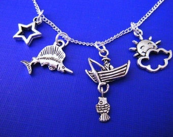 """Antiqued silver charms with 18"""" silver plated chain necklace Deep Sea Fishing"""