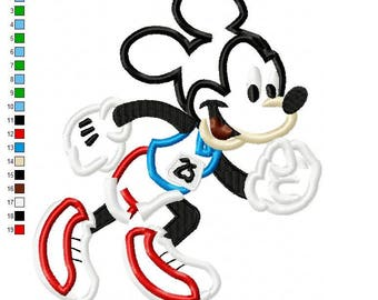 Run Mickey Applique Embroidery Design - INSTANT DOWNLOAD