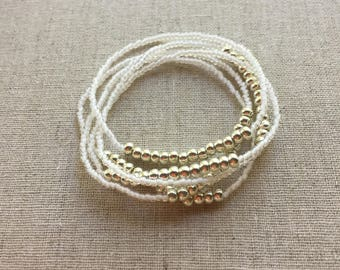 Seed Bead Stretch Layering Bracelet- White