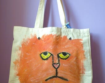 SAHARA Melancholy Cat Original Hand Painted Heavy Duty Shopping Bag