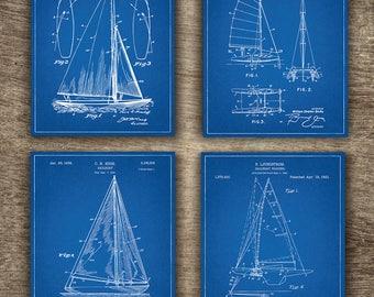 Blueprint etsy blueprint sailing boat patent set of 4 prints blueprint ship patent blueprint boat art malvernweather Choice Image