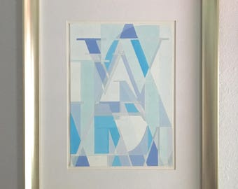 """Blue Abstract Painting - 'Abstract Didot' Original Gouache Painting on Paper, Matted, 16""""x20, Unframed"""