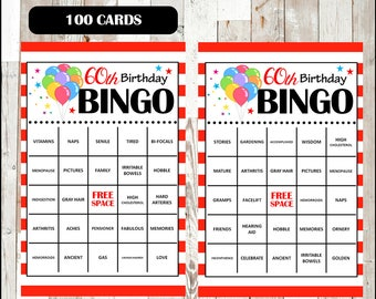 70th birthday party bingo game 60 different cards old age