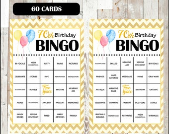 50% OFF 70th Birthday Party Bingo Game - 60 different Cards - Old Age Theme Bingo Words - Half Page Size - INSTANT DOWNLOAD