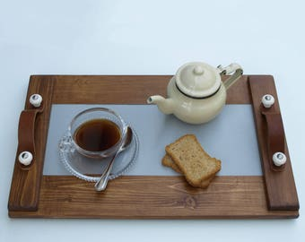 Wooden Tray, Serving Tray, Coffee Serving Tray, Leather Handles, Porcelain Handles, Decor, Art, Handpainted, Handmade