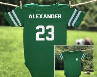Baby football jersey etsy onesie baby jersey bodysuit personalized onesie football onesie baby shower negle Image collections