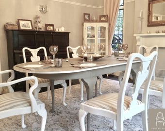 NOW SOLD Queen Anne Style Dining Table And Six Chairs