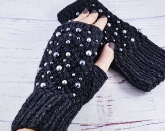 Coworker gift Outdoors gift Anniversary gifts for women gift Winter gloves Knit gloves Wool arm warmers knit Crochet mitts Wrist warmers