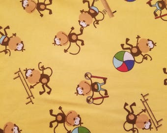 Monkey with Beach Ball Flannel Fabric