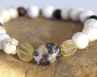 Beaded stretchy bracelet, Howlite stone bracelet, Crazy horse stone, Ocular Jasper, Stone stretchy bracelet