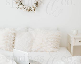 White Bed Styled Stock Photo Nightstand Bed Styled Stock Photography Cotton Styled Photo Lifestyle Stock Photo with Bed and Computer - 0014