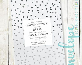 Shimmer Polka Dot Engagement Party Invitation