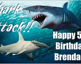 Custom Vinyl Shark Attack Birthday Party Banner Decorations with Child's Name