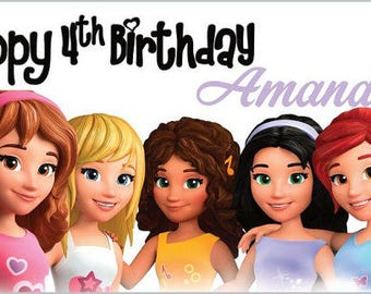 Custom Vinyl Lego Friends Birthday Party Banner Decorations with Child's Name