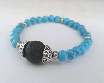 Essential Oil Aromatherapy Bracelet - Turquoise Beaded Stone Bracelet - Stretchy Beaded Bracelet - Essential Oil Diffuser Bracelet