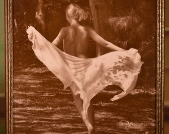 ORIGINAL ART PHOTO:  Nude young woman dancing in the woods, printed in vintage sepia tones and mounted in an early 20th century frame