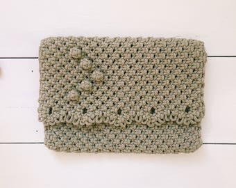 Crochet Clutch With Floral Lining