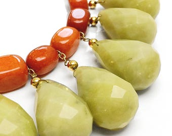 Cleopatra Green Serpentine and Orange Agate Necklace