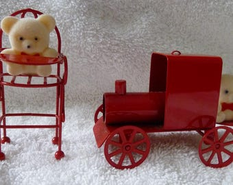 Vintage 80s Avon Metal Ornament Set with Flocked Bears TRAIN and HIGH CHAIR