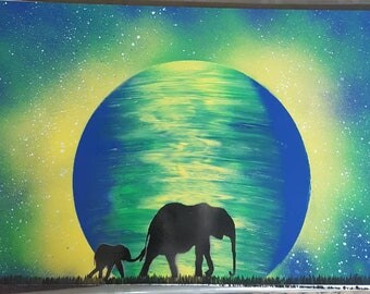 Mother and Baby Elephant/Planets over Pyramids/Dragon Attacking Castle/Sunrise-Spray Paint art