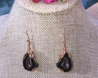 Tabasco Geode Wire Wrapped Earrings