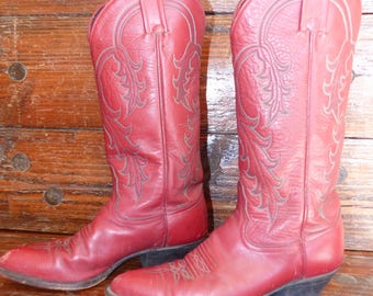 Vintage Tony Lama Red Ladies Cowboy Boots