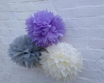 Pack of 20 pom poms / purple wedding decorations / party decorations / birthdays / home decorations / marquee decorations / rustic wedding