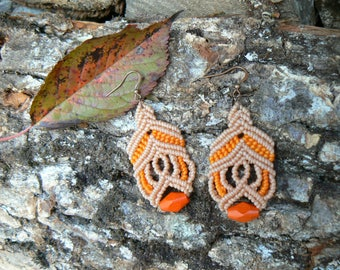 Macrame earrings.Handmade earrings.Gift for women.Boho jewelry.Orange earrings.Hippie jewelry.Ethnic earrings.Micro macrame.Gift for her