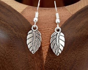 Silver leaf aged, antique silver leaf clip earrings