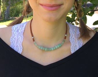 Green Aventurine Necklace / Leather Necklace / Gemstone Jewelry / Boho Necklace / Statement Necklace / Boho Jewelry / Jade / Minimalist