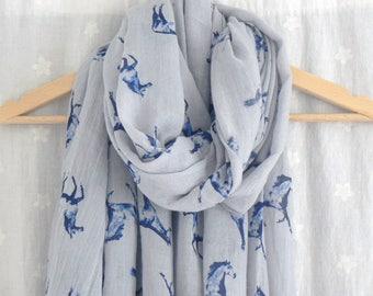 Grey and Blue Horse Print Scarf Wrap Shawl