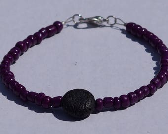 Custom colour lava rock beaded bracelet