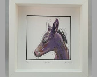 Horse Portrait – Framed Limited Edition Signed Print – 'Midnight'
