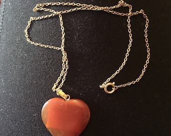 Vintage Carnelian Heart Necklace