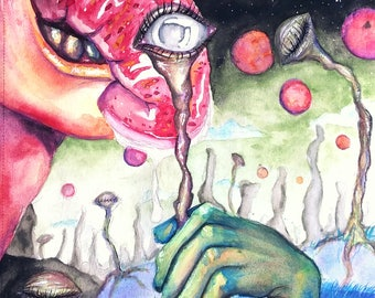 """Psychedelic, watercolor painting - """"Food for Thought"""""""