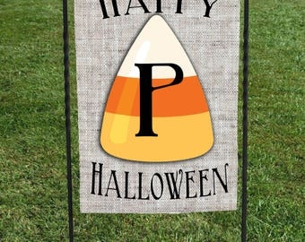 "Personalized Garden Flag, faux burlap background with Candy Corn and Initial in center, 12""x18"" Halloween"
