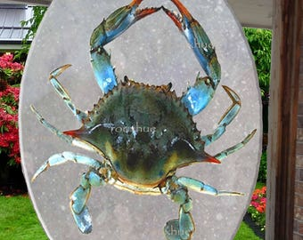 "Blue Crab Suncathcer, 6.5"" x 9"", Glass, Faux Stained Glass, Shell has colors of green, teal, dark red , Heat set on back of glass"